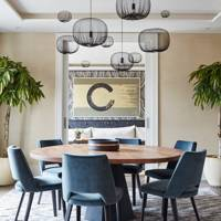 Modern Dining Area, Blue Chairs | Dining Room Design Ideas