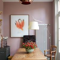 pink dining room with farmhouse table - Small Dining Room