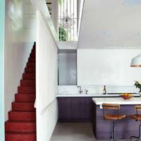 Modern White Hall Red Staircase