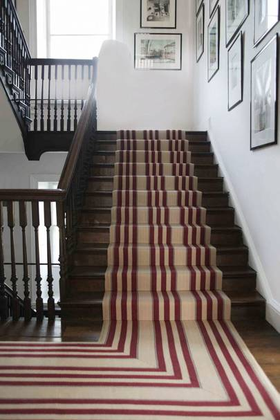 Striped flat woven runner