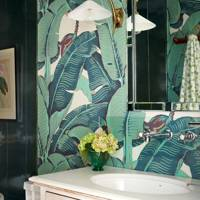 Bathroom With Palm Wallpaper
