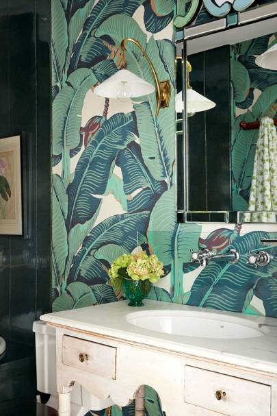 Vintage Style Vanity with Martinique Wallpaper