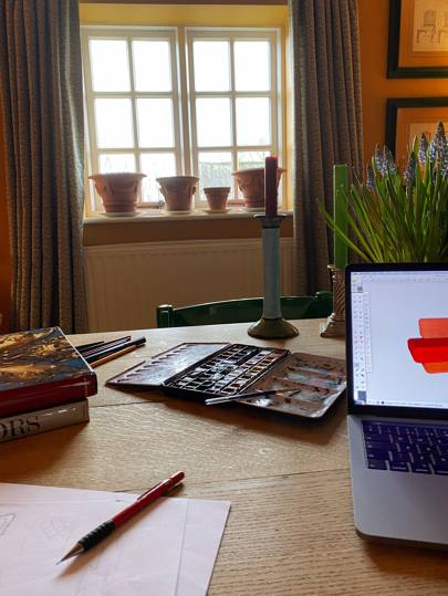 The view from Duncan's desk at home in Gloucestershire.