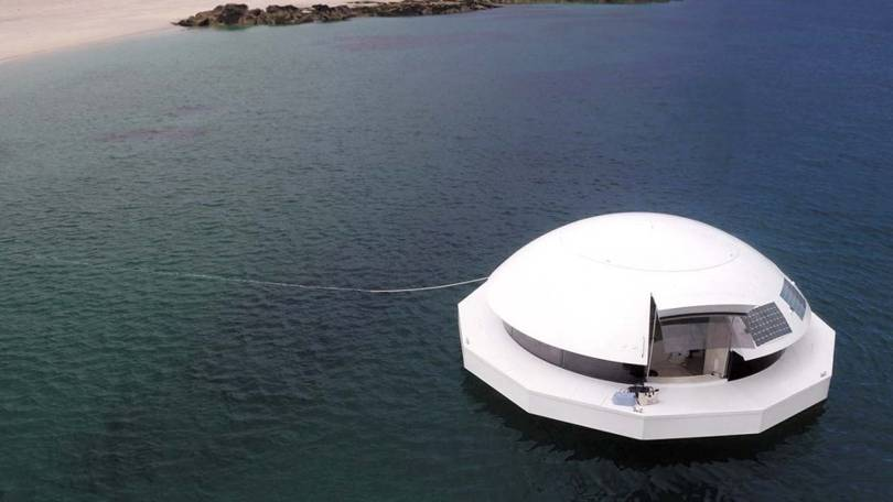 A floating house inspired by a Bond villain and the Palais Bulles is for sale