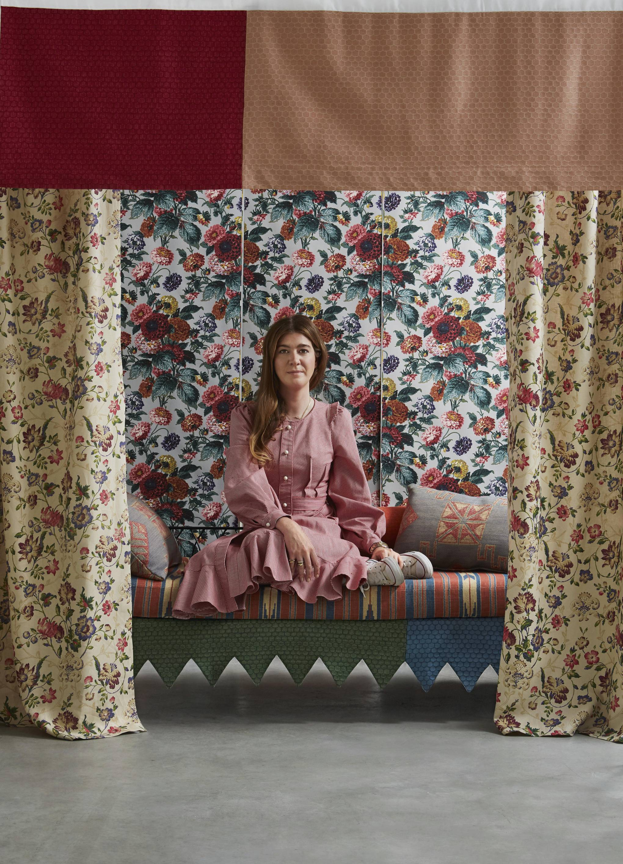 Flora Soames' debut fabric collection is inspired by her archive of antique textiles