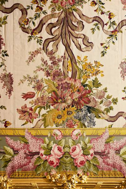 Detail of a brocaded panel from the Queen's bedchamber