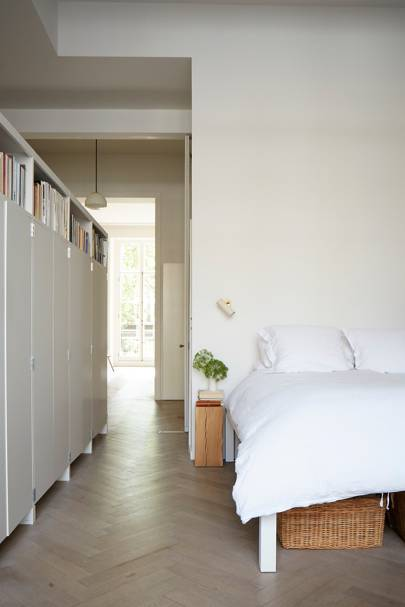 White Minimal Bedroom with Storage