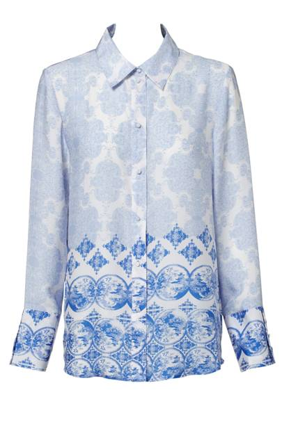Patterned Blue Shirt