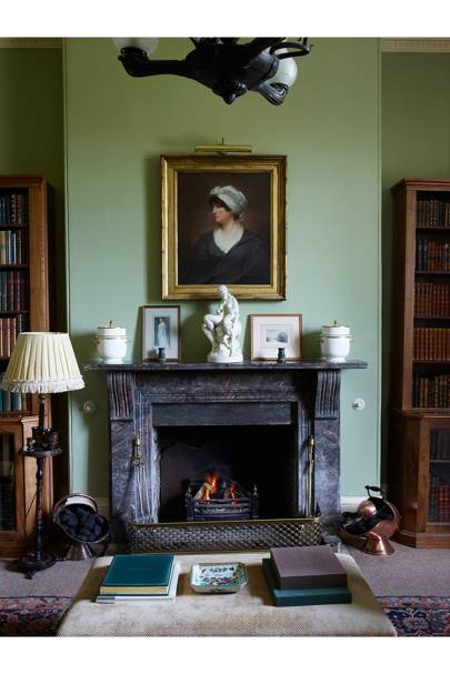 Library Fireplace - Traditional Cornwall House