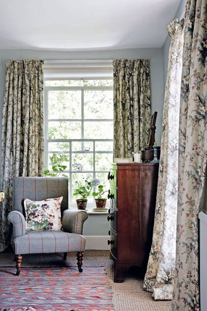 Country Bedroom with Chintz Curtains