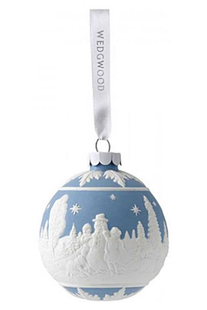 Wedgwood - Building a snowman bauble blue