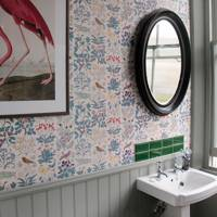 Small Bathroom with Voysey Wallpaper