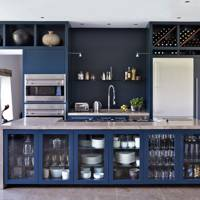 Navy blue cupboards