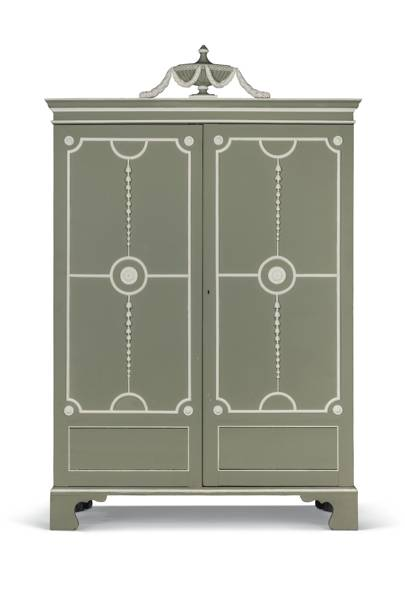 Lot 42: A George III Green and White Painted Wardrobe, 18th century and adapted, related to a design by Thomas Chippendale (estimate £4,000-£6,000)