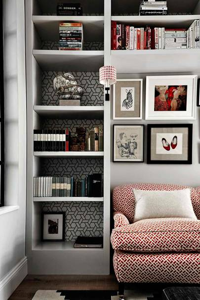 Wallpapered Bookshelves in Living Room