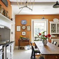 Warm orange country kitchen