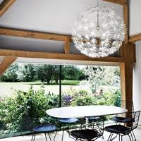 Barn Dining Area with Modern Lighting