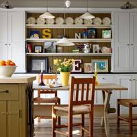 Country-style kitchen with dresser shelves