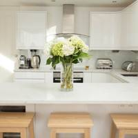 Small White Kitchen Quartz Worktop