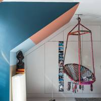 Modern blue and orange with hanging chair