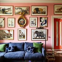 Pink Living Room With Gallery Wall