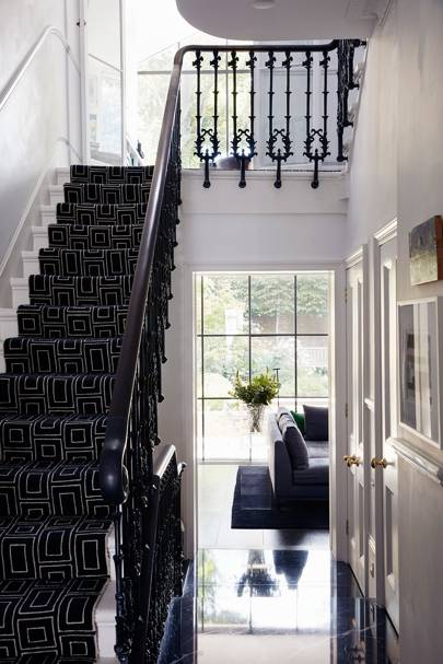 Patterned Black Staircase Runner