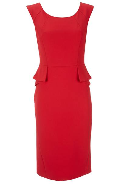 Red Crepe Peplum Dress
