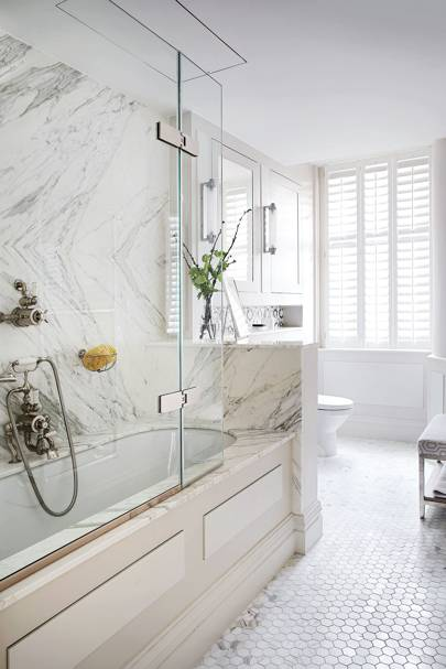 White marble and penny tiles