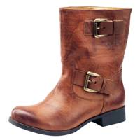 Tan Buckle Biker Boot