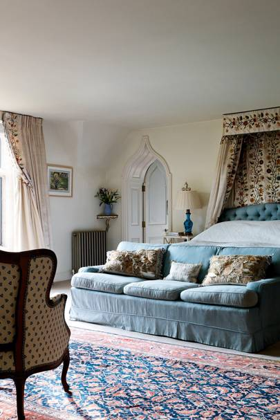 Blue Sofa in Cosy Country Bedroom