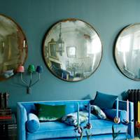 Living room with blue & jewel tone scheme