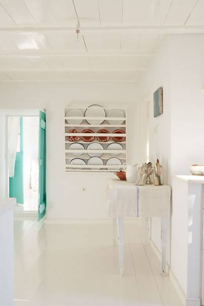 White & Turquoise Kitchen