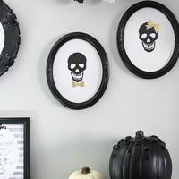 Framed skull art