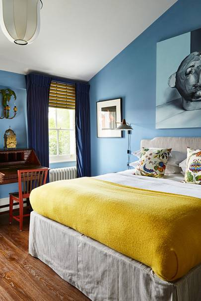 Blue & Mustard Bedroom