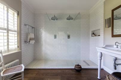 White Tiled Walk In Double Shower