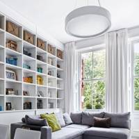 Modern Flat Living Room with Bookshelf Wall