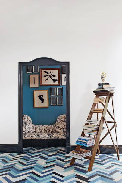 Mixed Blue Herringbone Tiles