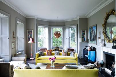 Grey Living Room with Yellow Sofas