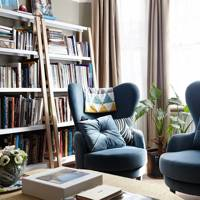 Modern Bookcase Contemporary Armchairs