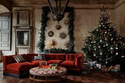 Blue X 2 32cm Metal Christmas Tree Circular Tray