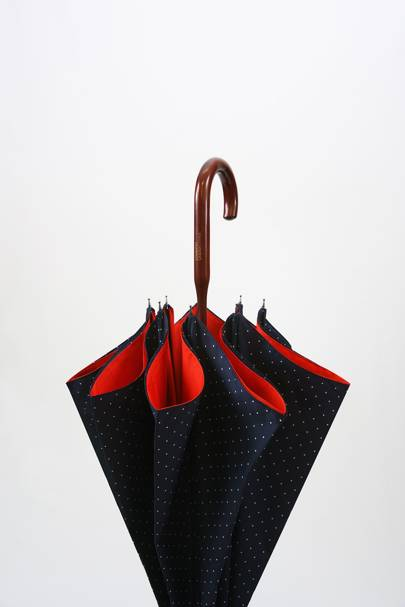 Solid Maple Wood Navy Polka Dot Umbrella
