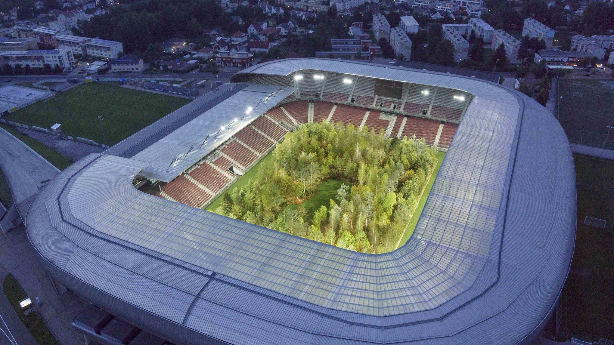 An artist planted 300 trees in a stadium to warn about climate change