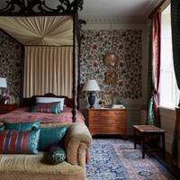 The Bedside Table Is From Christopher Hodsoll. In This Room Ben Has Used The  William Morris Wallpaper U0027Fruitu0027 (lime Green/tan).