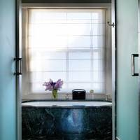 Small dark marble bathroom