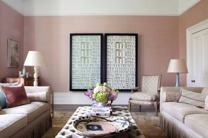 Pink living room with contemporary art