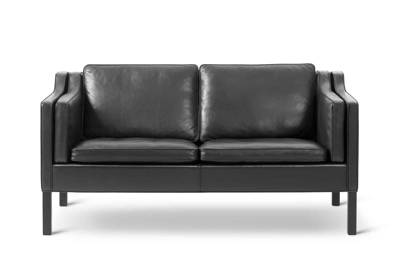 Black Leather 60s Sofa