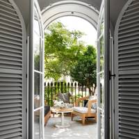 Shuttered townhouse garden