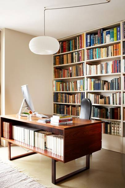 Mid-century Office with Inbuilt Bookshelves