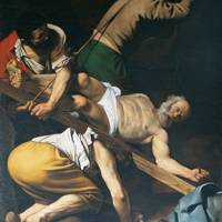 Caravaggio (1571–1610): The Crucifixion of St Peter, 1601, Cerasi Chapel, Santa Maria del Popolo, Rome