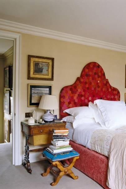 Cream Bedroom with Patchwork Headboard